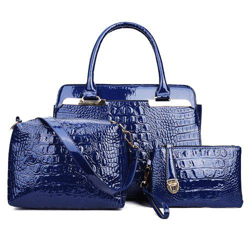 Crocodile Embossed Metal PU Leather HandbagBags<br><br><br>Color: BLUE