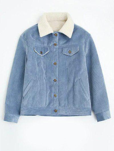 Lamb Wool Lined Corduroy Coat - LIGHT BLUE L