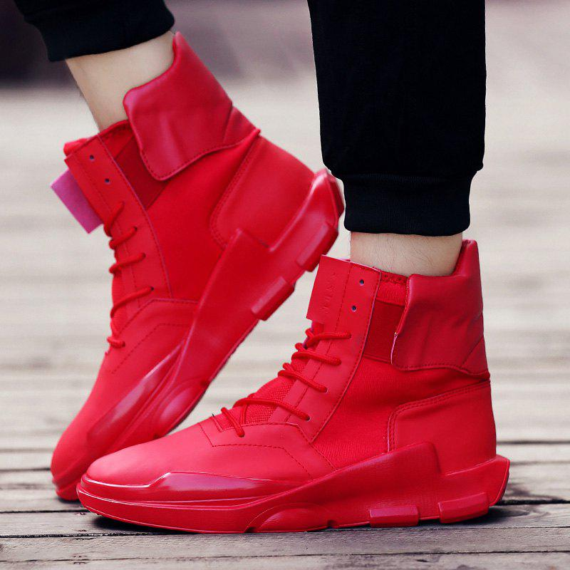 Lace-Up Stretch Fabric Elastic Band Boots - RED 44