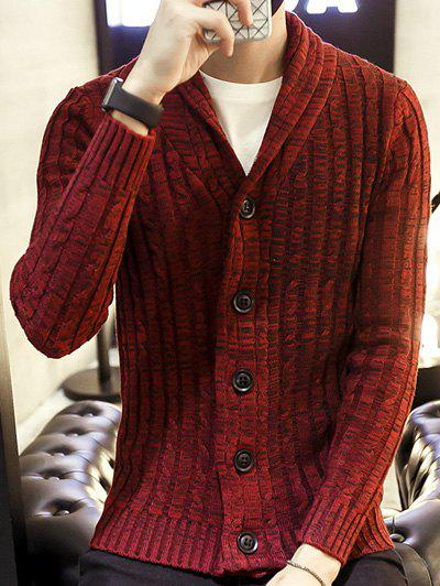 Botton Up Shawl Collar Ribbed Knitted Cardigan ribbed knitted poncho pink