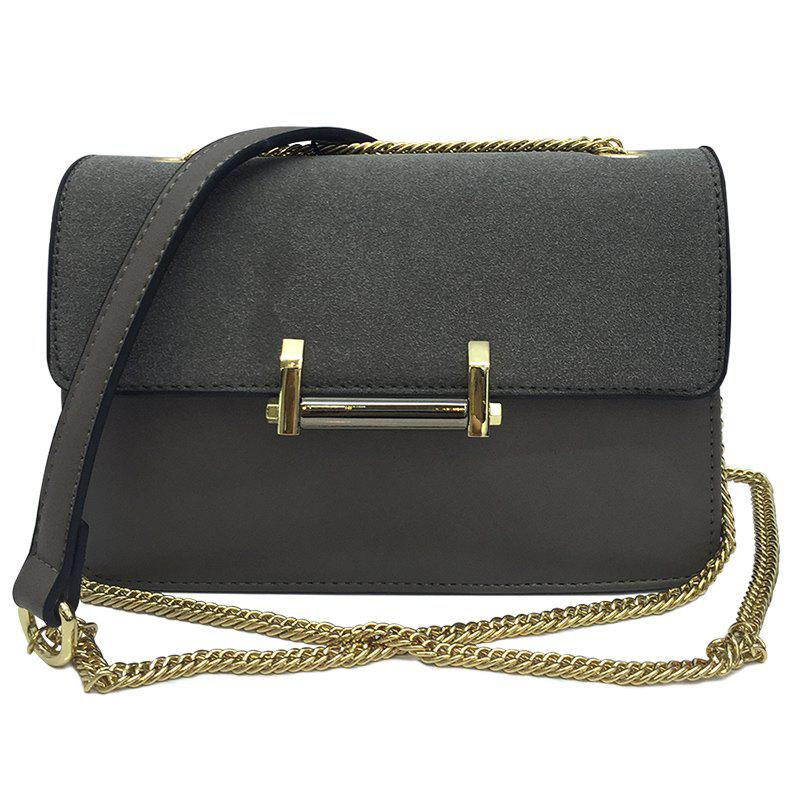 Metal Suede Spliced Chains Crossbody BagBags<br><br><br>Color: GRAY