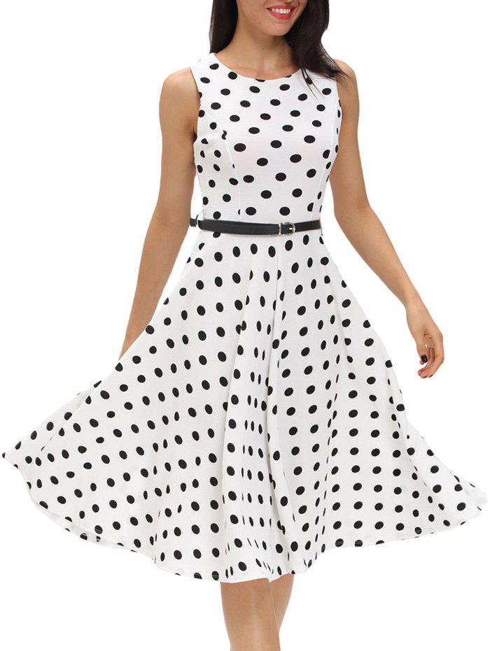 Vintage Sleeveless Polka Dot Belted Dress - WHITE L