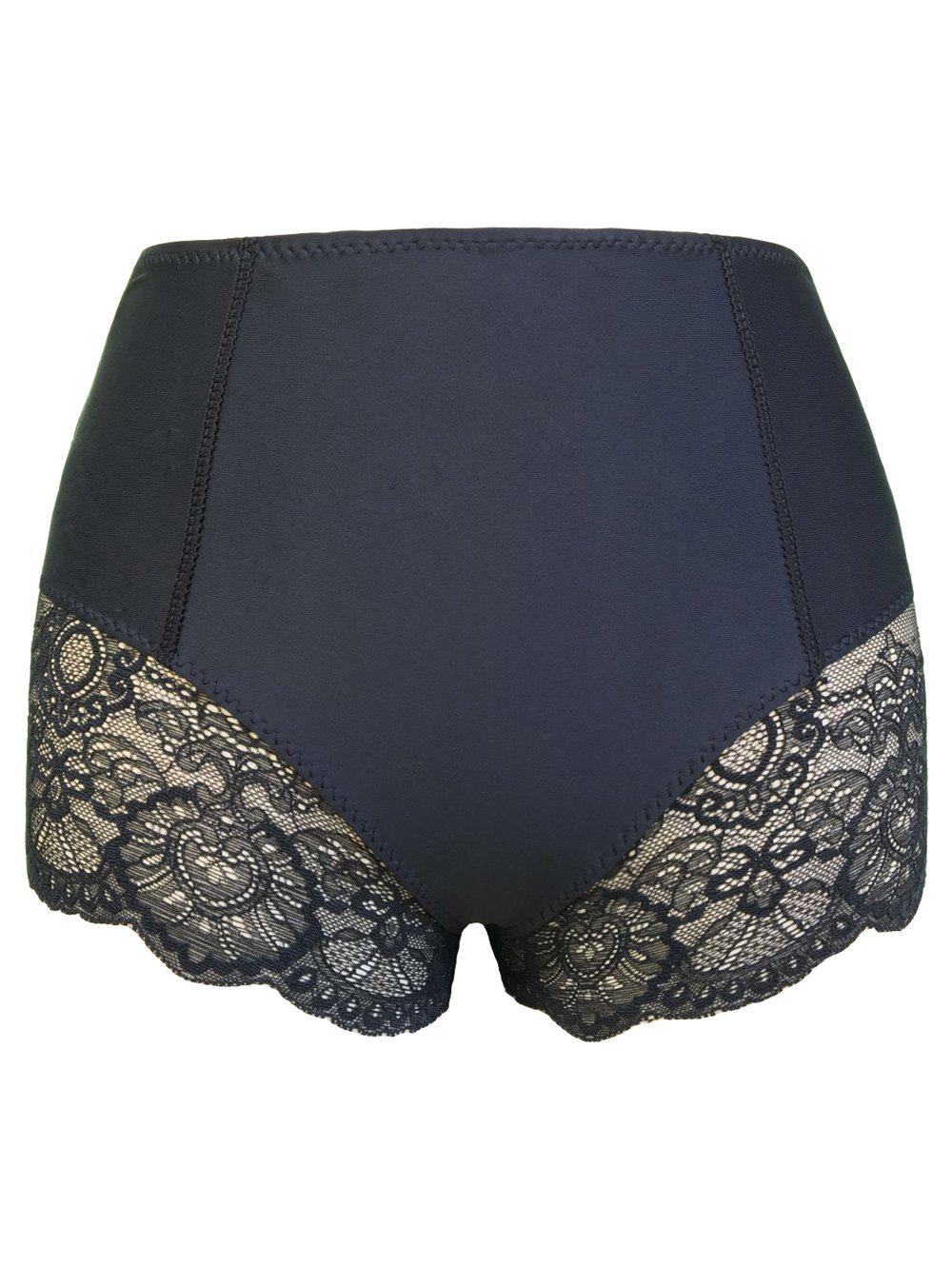 Lace Panel Lifted Boyshort Panties - BLACK L