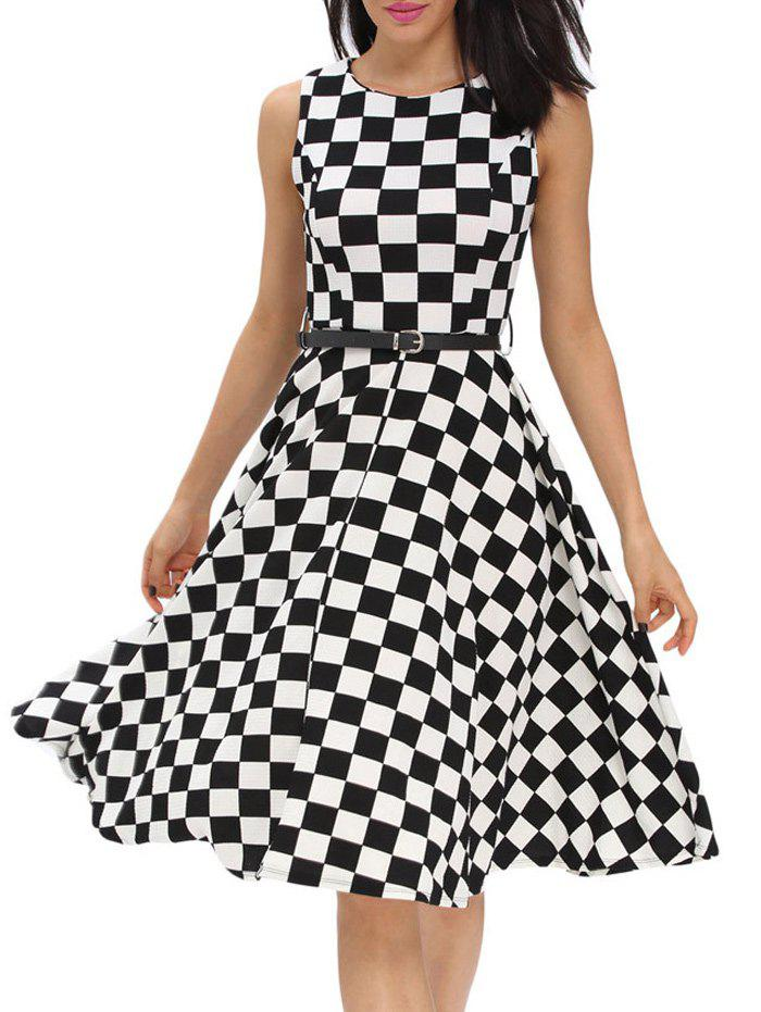 Retro High Waist Plaid Belted Dress - BLACK S