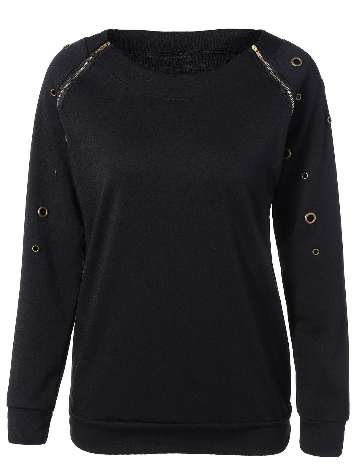 Zippered Crew Neck Pullover Sweatshirt - BLACK M