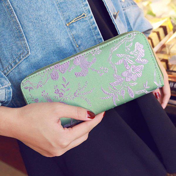Embroidery Color Block Bird Pattern Wallet - LIGHT GREEN
