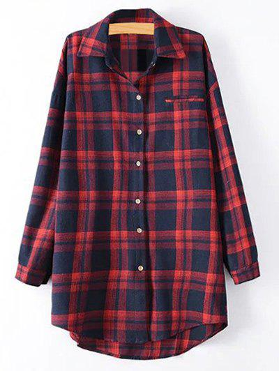 Tartan Plus Size Shirt - Rouge 4XL