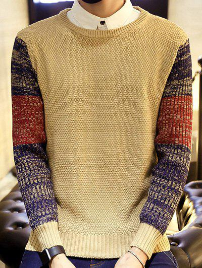 Ribbed Knitted Sleeve Color Block Sweater ribbed color block sweater