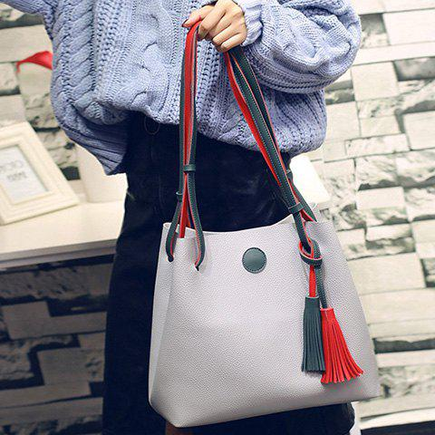 Magnetic Closure Color Spliced Tassels Shoulder Bag - LIGHT GRAY