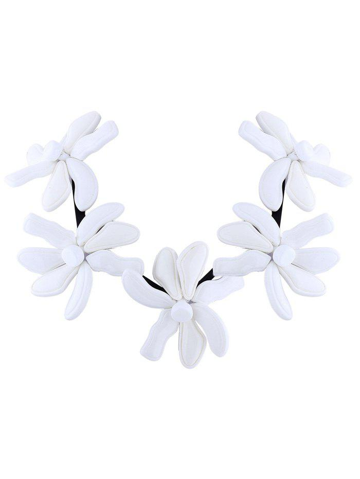 Buy Resin Flower Embellished Necklace WHITE
