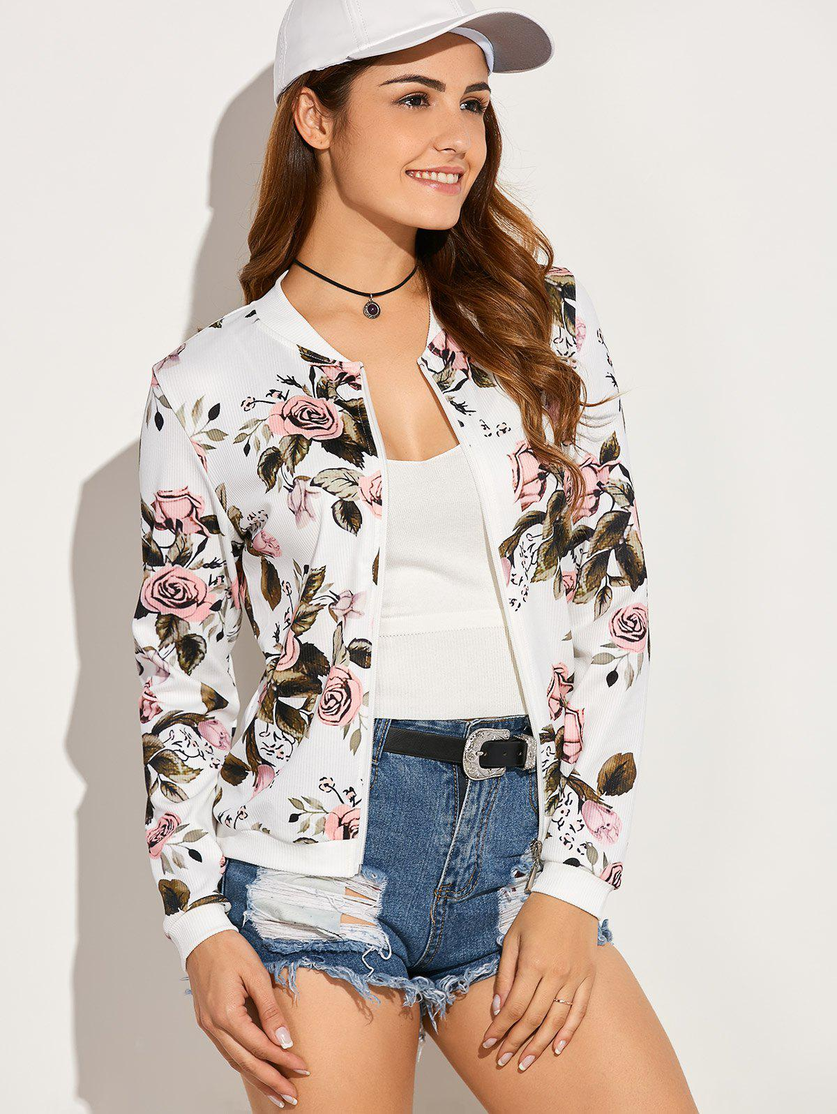 Casual Roses Leaves Print Zip Up Jacket - WHITE L