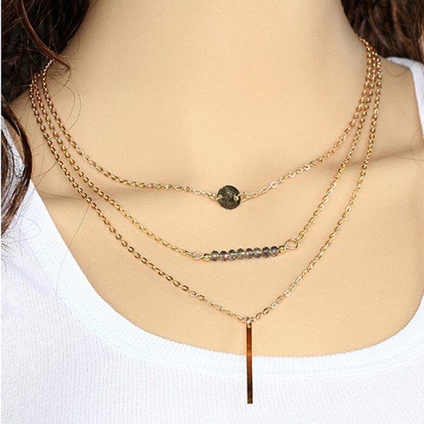 Geometric Shape Multilayered Pendant Necklace - AS THE PICTURE