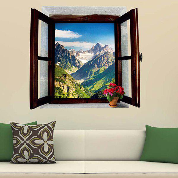 Home Decor 3D Stereo Natural Mountain Window Design Wall Stickers - GREEN