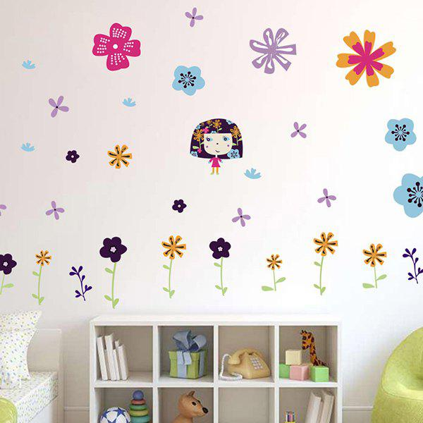 Colorful Floral Pattern Removable Kids Room Wall Stickers removable colorful christmas penguins children s room wall stickers
