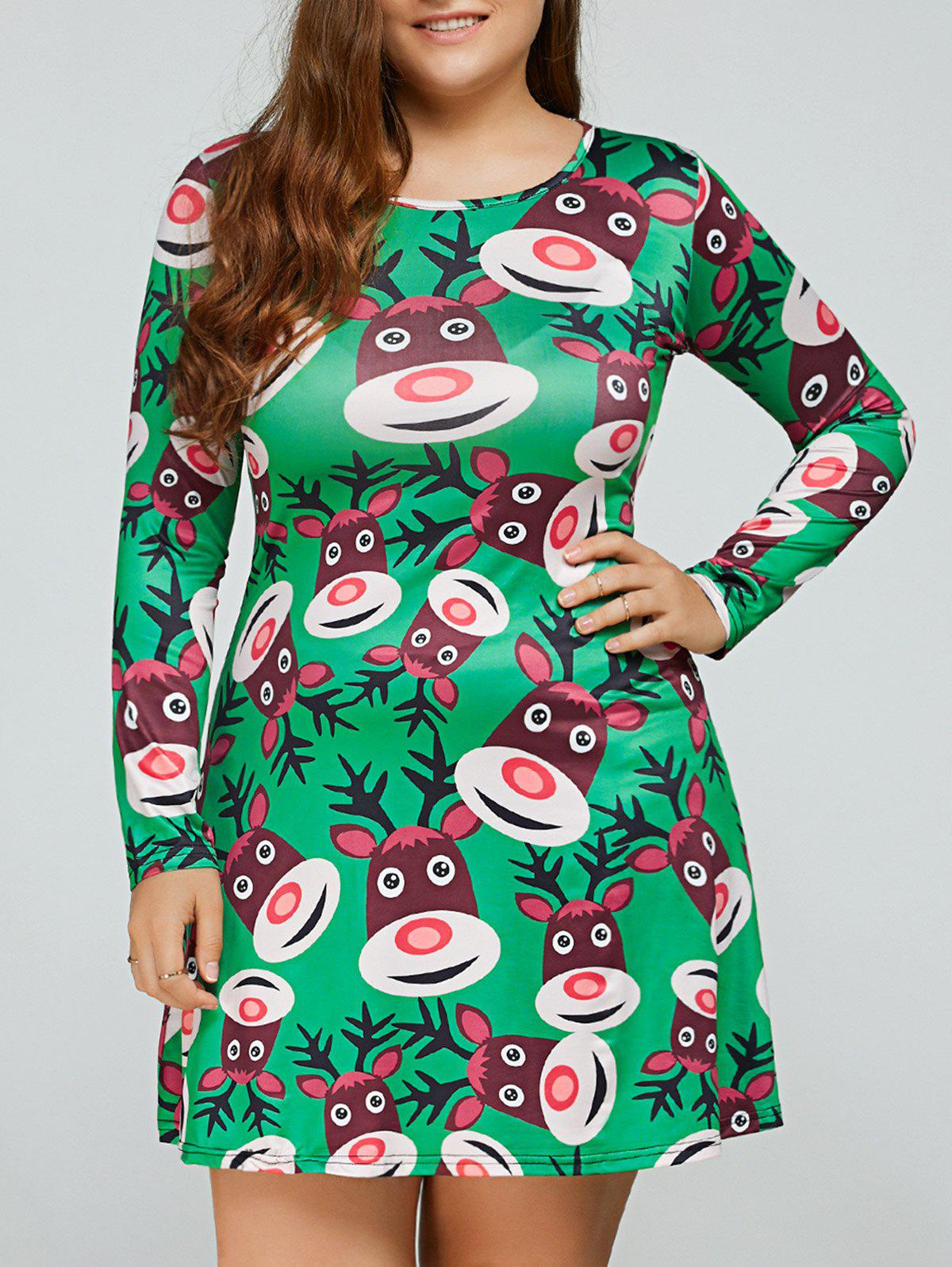 Long Sleeve Cartoon Elk Print Christmas Swing Dress - GREEN 2XL