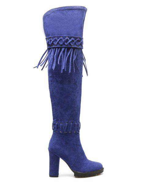 Criss-Cross Chunky Heel Fringe Thigh Boots - BLUE 37