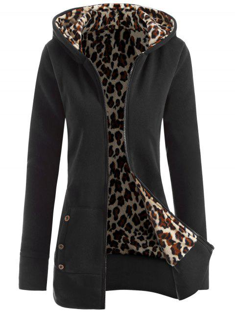 Zipper Fly Thicken Leopard Pattern Hoodie - BLACK GREY 2XL