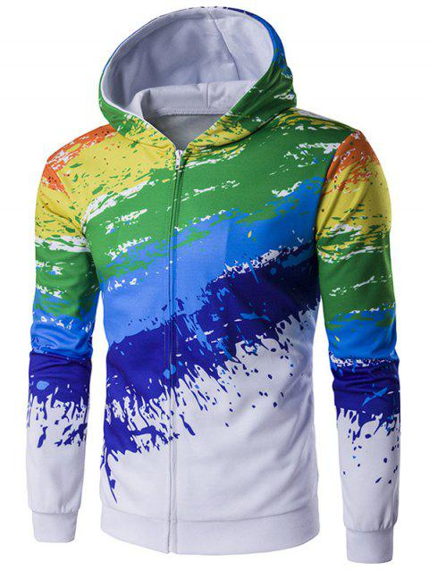 Sweat à capuche avec imprimé zippé Paint Splash - multicolore XL