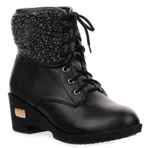 Lace-Up Faux Shearling Wedge Heel Boots - BLACK 38