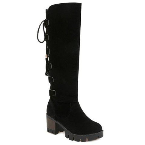 Tie Up Platform Tassels Knee-High Boots - BLACK 37