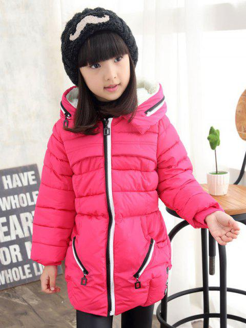 Girls Hooded Long Coat - ROSE RED 130