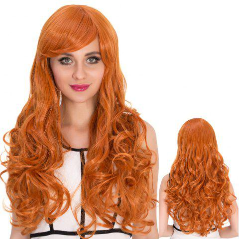 Sparkling Long Side Bang Wavy Cosplay Synthetic Wig - ORANGE RED