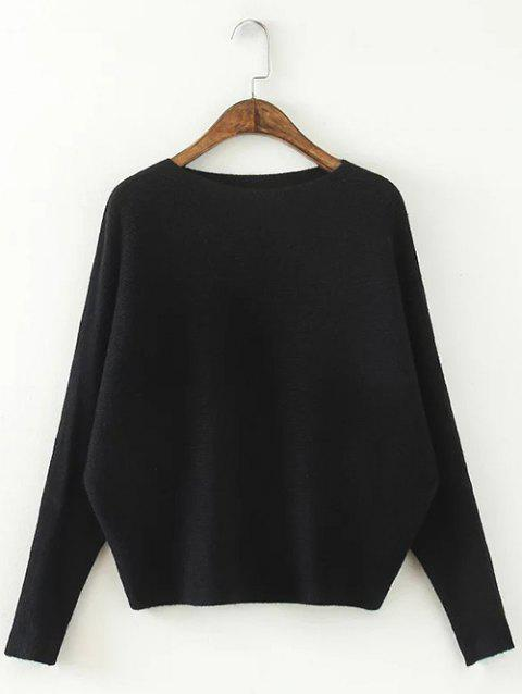 Comfortable Dolman Sleeve Knitted Sweater - BLACK ONE SIZE