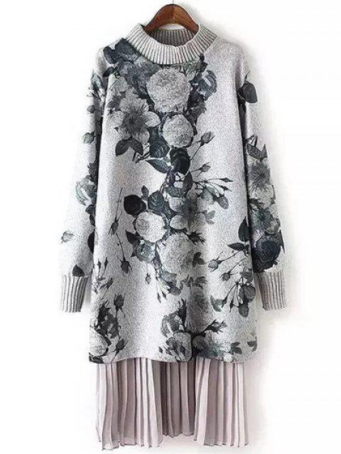 Casual manches longues Floral Print Sweater Dress - Gris L