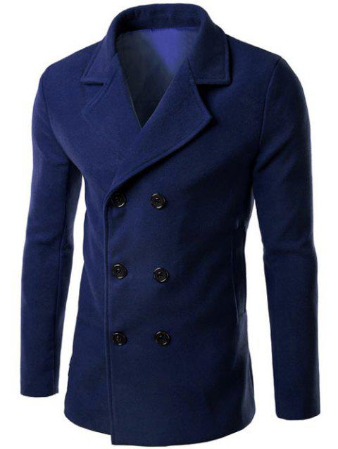Lapel Collar Double Breasted Wool Blend Coat - DEEP BLUE 3XL