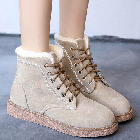 Criss-Cross Suede Lace-Up Snow Boots - APRICOT 37