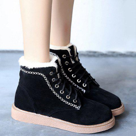 Criss-Cross Suede Lace-Up Snow Boots - BLACK 38