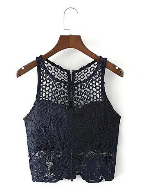 Découpez Out Tank Top Lace Zippered - Bleu Violet L