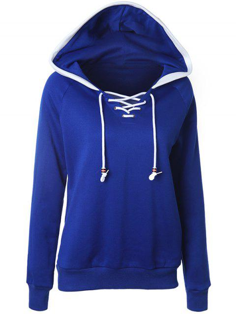 Casual Raglan Sleeve Lace Up Pullover Hoodie - DEEP BLUE L