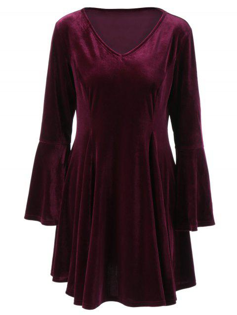 Flare Long Sleeve Velvet Skater Cocktail Dress - PURPLE RED 5XL