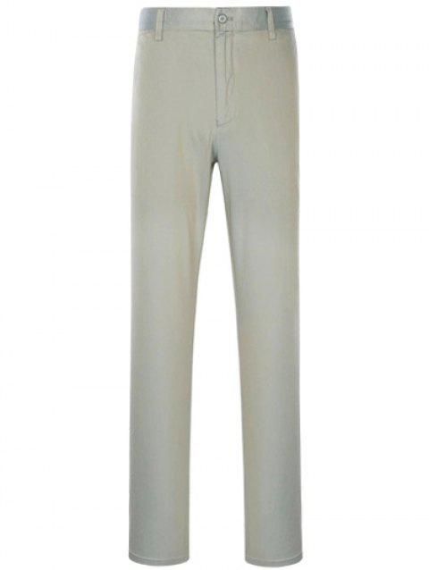 Slimming Simple Zipper Fly Straight Leg Pants - GRAY 36