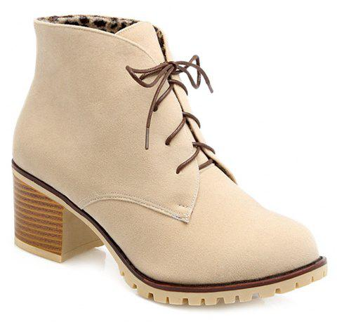 Suede Chunky Heel Lace-Up Ankle Boots - OFF WHITE 37