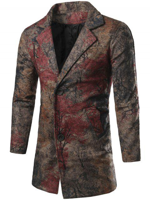 Lapel Collar Chinese Painting Printed Coat - COLORMIX 2XL