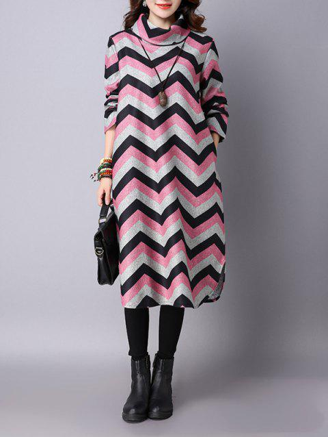 Thicken Wave Striped Printed Furcal Dress - SHALLOW PINK 2XL