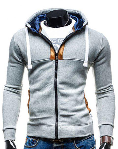 Drawstring Hooded Long Sleeve Selvedge Embellished Men's Hoodie - LIGHT GRAY M