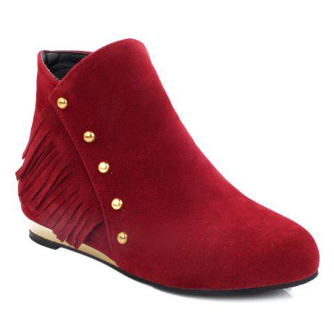 Dome Stud Flat Heel Zipper Ankle Boots - RED 39