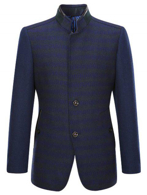Rib and PU-Leather Splicing Stand Collar Single-Breasted Woolen Coat - CADETBLUE L