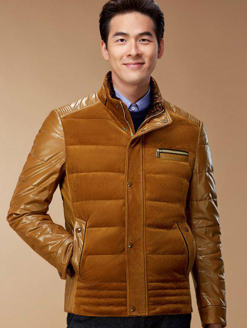 Zip-Up Corduroy and PU-Leather Spliced Down Jacket - EARTHY S