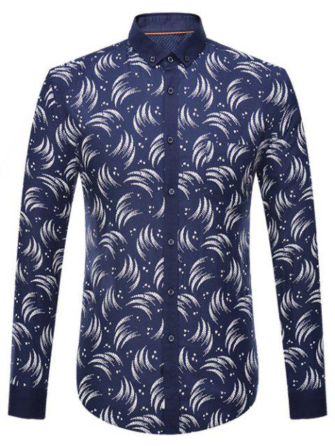 Manches longues circinée Print Button Down-Shirt - Cadetblue 2XL