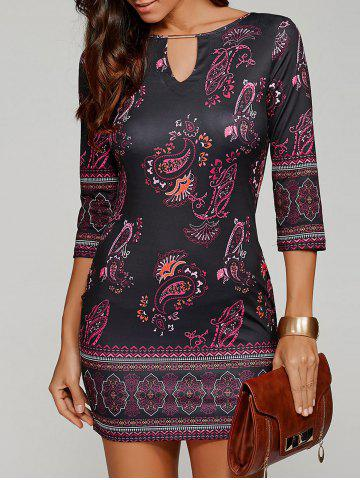 Paisley Keyhole Neck Mini Dress with Sleeves