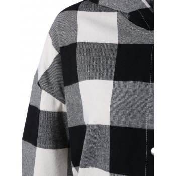 Plaid Hooded Loose Fitting Blouse - M M