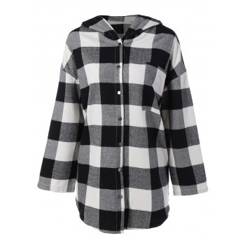 Plaid Hooded Loose Fitting Blouse - CHECKED CHECKED