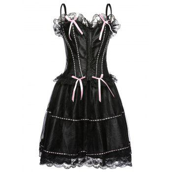 Spaghetti Strap Corset Top and Bubble Skirt Set