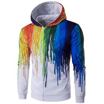Paint Dripping Printing Long Sleeve Zip Up Hoodie