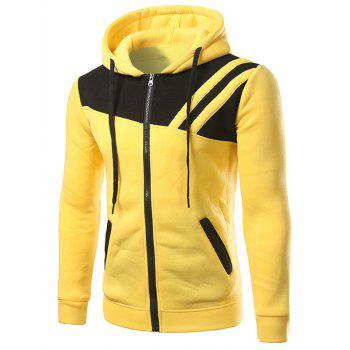 Zippered Contrast Paneled Drawstring Two Tone Hoodie