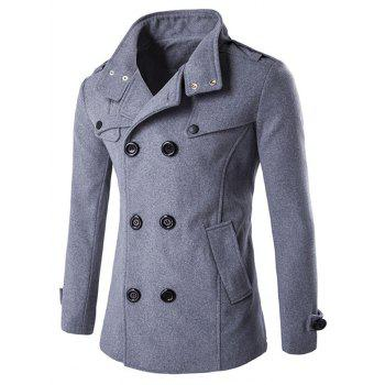 Button Tab Cuff Zippered Back Vent Pea Coat